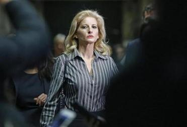 Summer Zervos, who is suing President Trump in a defamation lawsuit, left Manhattan Supreme Court after a hearing on Dec. 5, 2017.